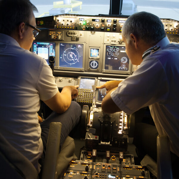 Pilot points out to student in 737 800 simulator