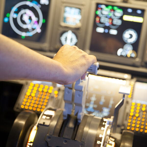 737 800 simulator man moves lever