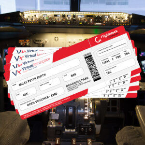 Examples of gift vouchers / flight passes for Flightdeck Experience and Virtual Aerospace