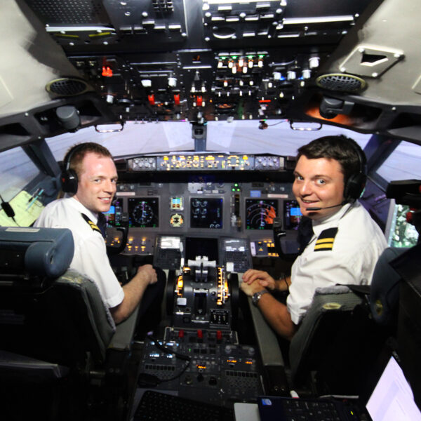 Professional Pilots in 737 800 flight simulator