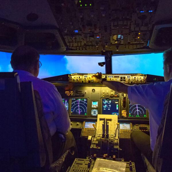 Two men in 737 800 simulator