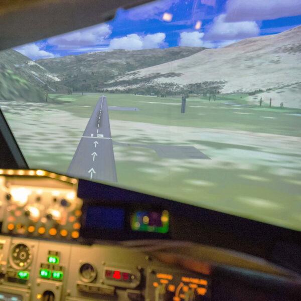 View of landing in 737 800 simulator
