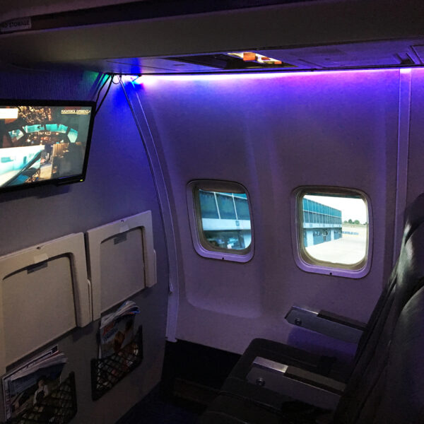 View of cabin behind 737 800 Simulator