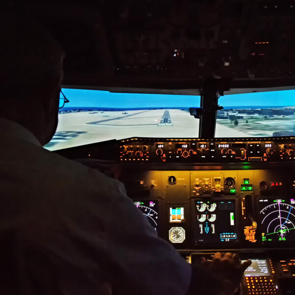 737 800 simulator preparing for landing