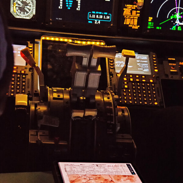 737 800 simulator equipment close up
