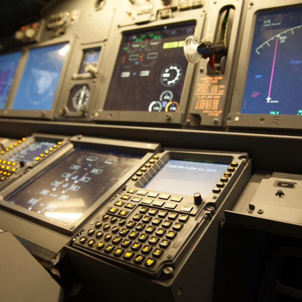 Close up of equipment 737 800 simulator