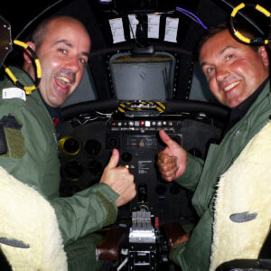 Two men giving Thumbs Up Vulcan Bomber Simulator