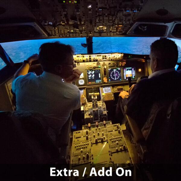 Pilot chatting to co pilot 737 800 simulator