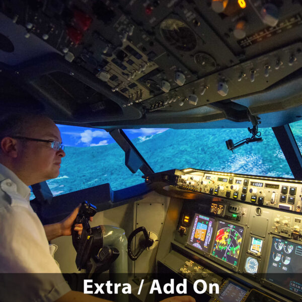 Man ready to land 737 800 simulator