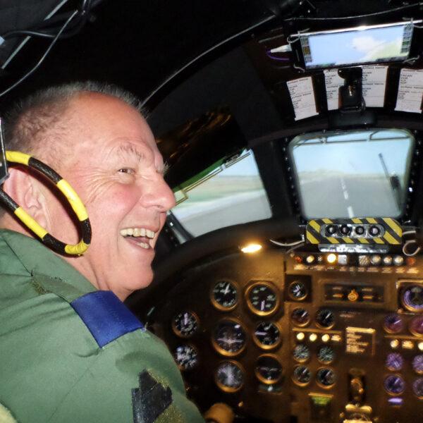 Man smiling in Vulcan Bomber Simulator