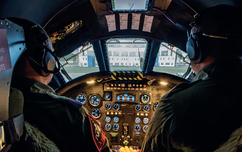 Vulcan Bomber Pilots in Simulator Cockpit